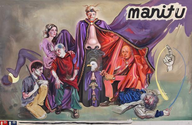 KATI HECK Überhaupt: was macht der Zeitgeist?, 2015 oil, pencil on stitched canvas, 230 x 350 cm