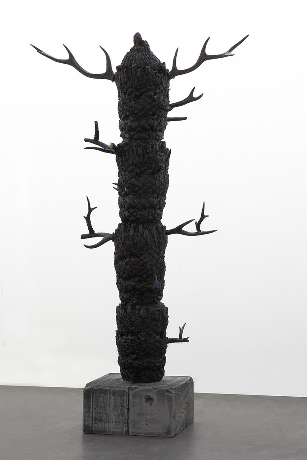 EDWARD LIPSKI Tree, 2011 fibre glass, resin, custom car paint, horn, breeze blocks 178 x 105 x 44 cm
