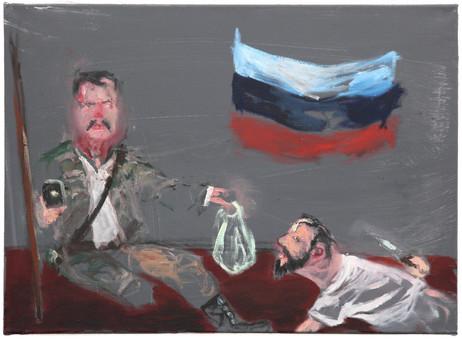 AARON VAN ERP De laffe aanslag op Igor Strelkov, 2014 oil on canvas 55,5 x 75,5 cm
