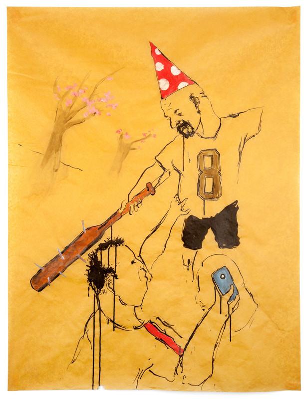 AARON VAN ERP De jarige hooligan, 2018 pencil, ink and acrylic on paper 115 x 87 cm