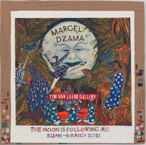 MARCEL DZAMA The moon is following me, 2020 ink,watercolor, acrylic, glow-in-the-dark acrylic, graphite and collage on paper on cardboard 45,7 x 46 x 0,7 cm