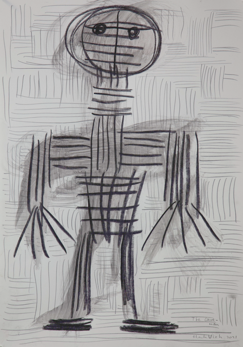 HENK VISCH The cave man, 2021 ink, and pencil on paper 42 x 29,7 cm