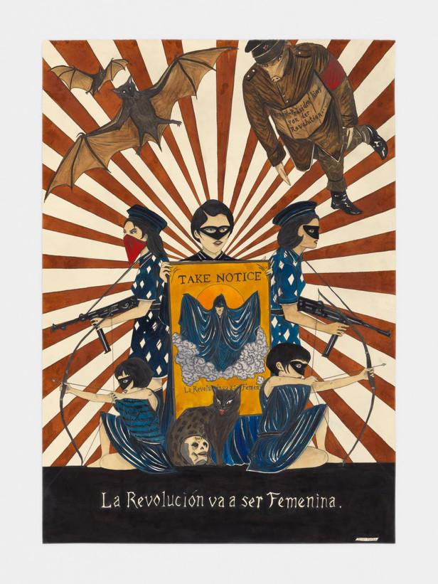 MARCEL DZAMA La Revolución va a ser Femenina, 2017 watercolor, ink, graphite, and collage on paper 76,2 x 55,9 cm, 87,6 x 67 x 2,5 cm (framed)