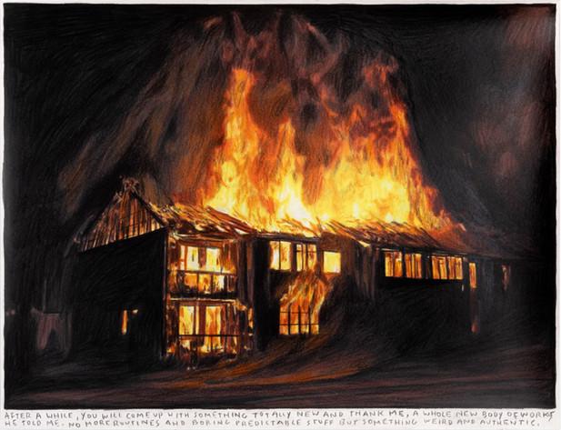 RINUS VAN DE VELDE After a while, ..., 2020 colored pencil on paper, artist frame 34,9 x 45,2 cm