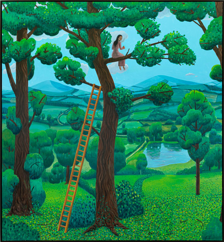 BEN SLEDSENS Girl in a Tree, 2020-2021 oil and acrylic on canvas 190 x 175 cm