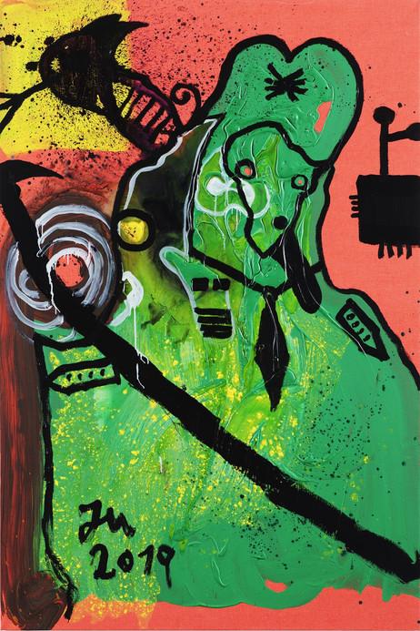 JONATHAN MEESE DIE FLOTTE DOKTORIN AUSM FESCHN ́ WIESENGRUND!, 2019 acrylic on canvas 210 x 140 cm