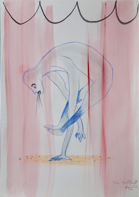 HENK VISCH The conflict, 2021 watercolor, crayon, and pencil on paper 42 x 29,7 cm