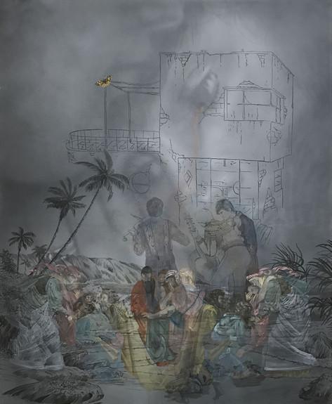 FRIEDRICH KUNATH  Tiburon, 2017 acrylic and ink on canvas, 152,5 x 122 cm