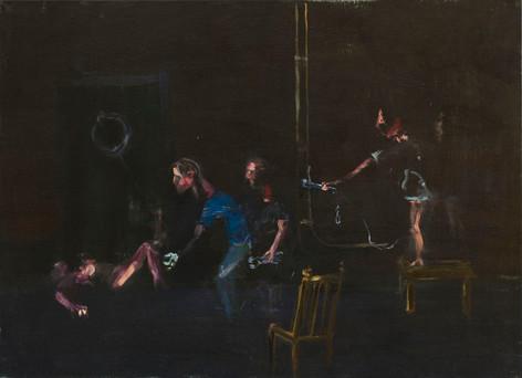 AARON VAN ERP Interview met de assistent van een omstreden abortusarts, 2011 oil on canvas 80 x 110 cm