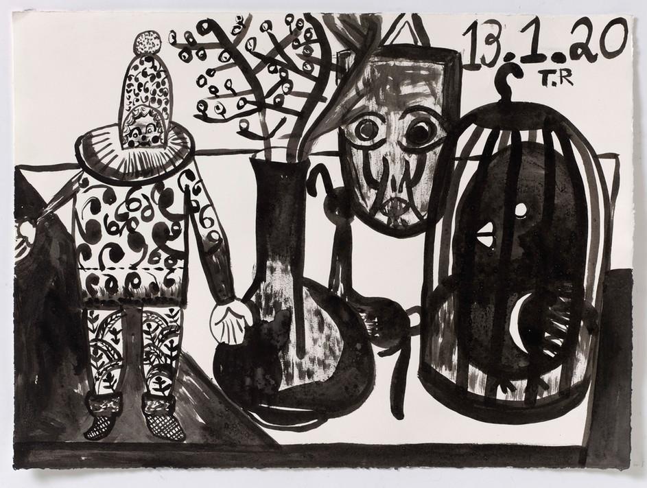 TAL R Ovary, Hamborg & klondike, 2020 ink on paper 56  x 76 cm