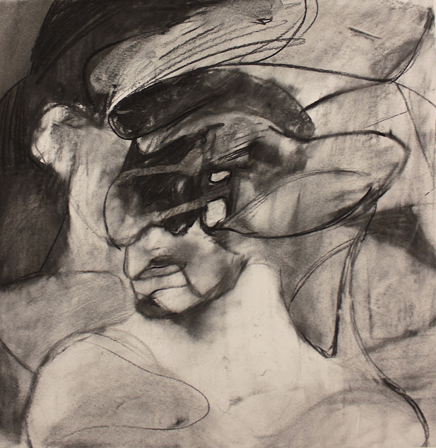 "ADRIAN GHENIE Study for ""Self-Portrait with Picassoesque Background"", 2020 charcoal on paper 56 x 55 cm"
