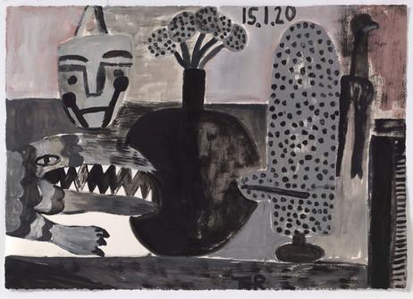 TAL R Crocodile Street, Penazja, butterfly, 2020 gouache on paper 54 x 76 cm