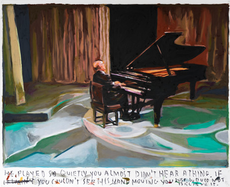 RINUS VAN DE VELDE He played so quietly you almost didn't hear a thing... , 2021 oil pastel on paper 73,2 x 90,4 cm