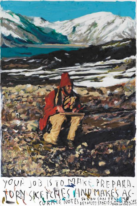 RINUS VAN DE VELDE Your job is to make preparatory sketches..., 2021 oil pastel on paper 110,2 x 73,3 cm