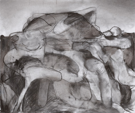 """ADRIAN GHENIE Study for """"The Hunter"""", 2020 charcoal on paper 70 x 83 cm"""