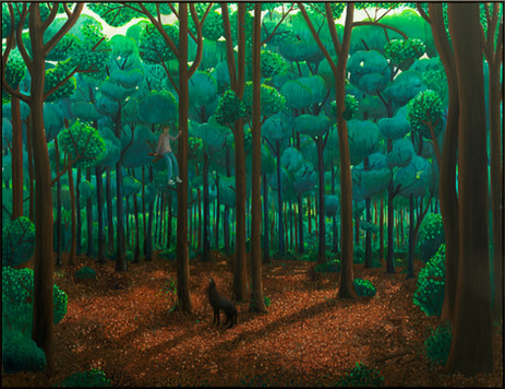 BEN SLEDSENS Chased by a Wolf, 2020-2021 oil and acrylic on canvas 200 x 260 cm
