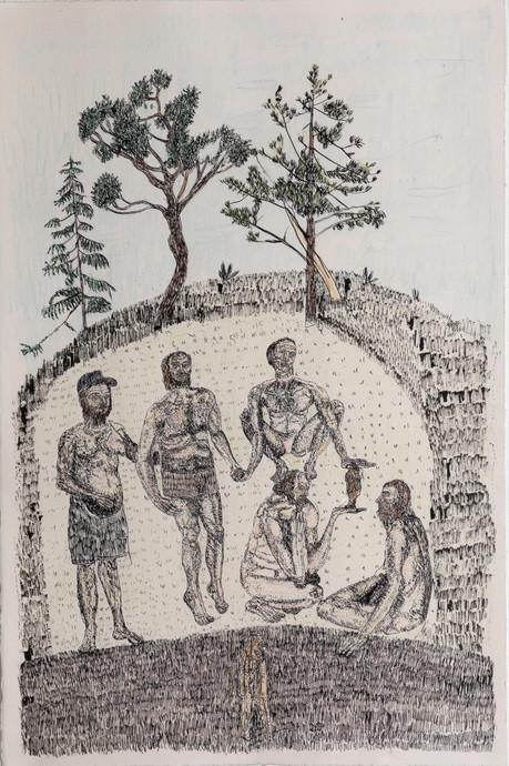 BRAM DEMUNTER Löwenmensch, 2019 ink and colored pencil on paper  49,3 x 34,5 cm