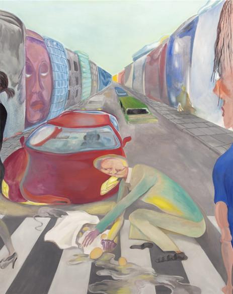 TOMASZ KOWALSKI She Has Funny Cars, 2018 oil on canvas 164,5 x 130 cm