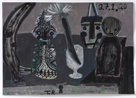 TAL R Moon, Odessa & Lucja, 2020   gouache on paper  72 x 102 cm