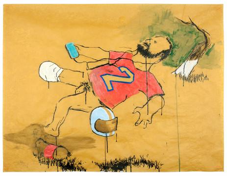 AARON VAN ERP De man die uitglijdt over een colafles, 2018 pencil, ink and acrylic on paper 87 x 115 cm