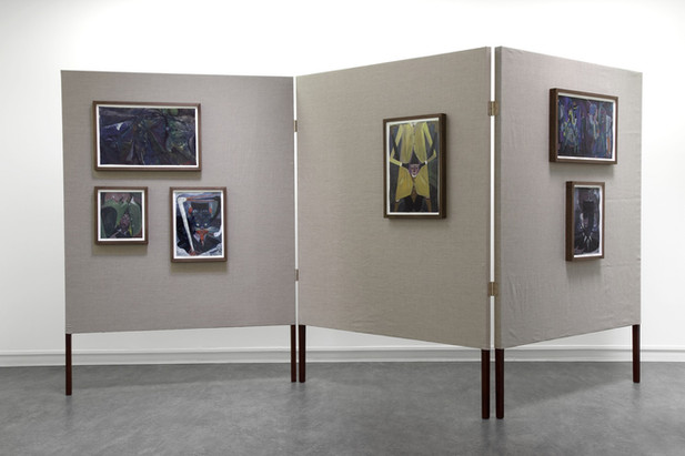 TOMASZ KOWALSKI The choice of works from the return of the ancestor, 2010 collage, gouache on paper framed, photographs, wood, metal, canvas 210 x 450 x 5 cm