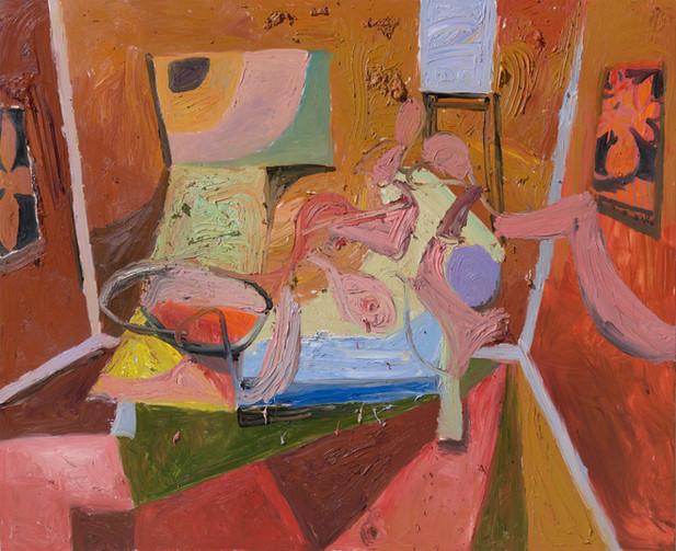 ANTON HENNING Interieur mit Pin-up, No. 1, 2018 oil on canvas 180 x 220,5 cm