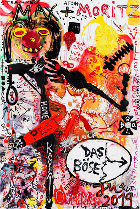 JONATHAN MEESE FASCHING DES BÖSEN, FASNACHT DES ULTRABÖSEN, KARNEVAL DES TOTALSTBÖSEN! (KREISLAUF DE BÖS), 2019  acrylic and dispersion binder on canvas  270,4 x 180,2 x 4 cm