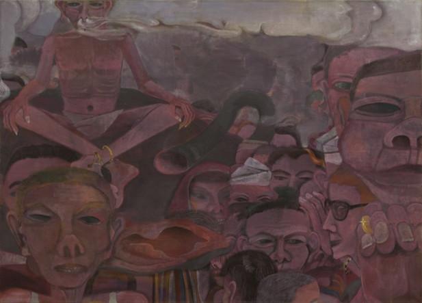 TOMASZ KOWALSKI Precogs' Foyer, 2014 - 2018 oil and acrylic on canvas 90 x 124,5 cm