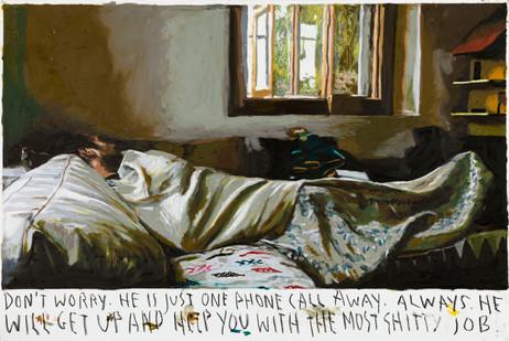 RINUS VAN DE VELDE Don't worry. He is just one phone call away., 2020 oil pastel on paper 73,1 x 108,6 cm