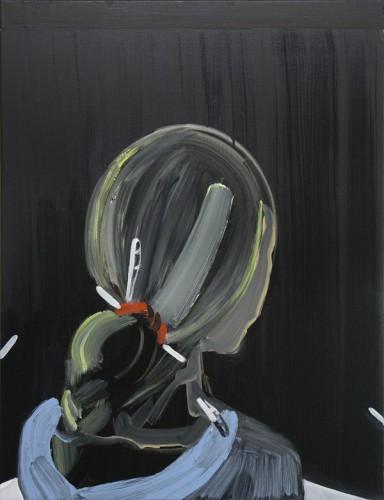 """ELLEN DE MEUTTER: """"Selfportrait 2"""", 2006 acryl, ink and oil on canvas - 80 x 60 cm"""
