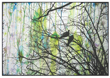 ED TEMPLETON Paris (Birds), 2008 - 2009 gelatin silver print with text and paint 50,8 x 40,6 cm