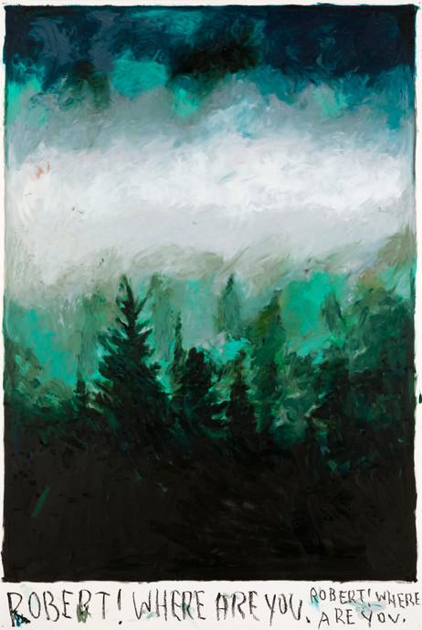 RINUS VAN DE VELDE Robert! Where are you., 2019 oil pastel on paper 110,2 x 73,3 cm
