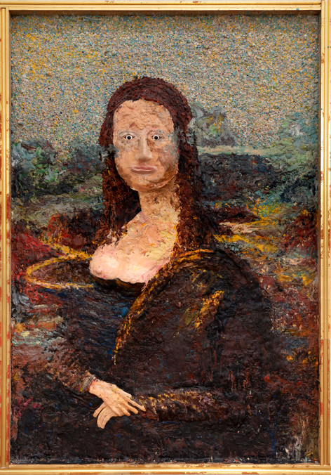 GELATIN Mona Lisa, 2019 plastilin, paraffin on wood 180 x 125 cm