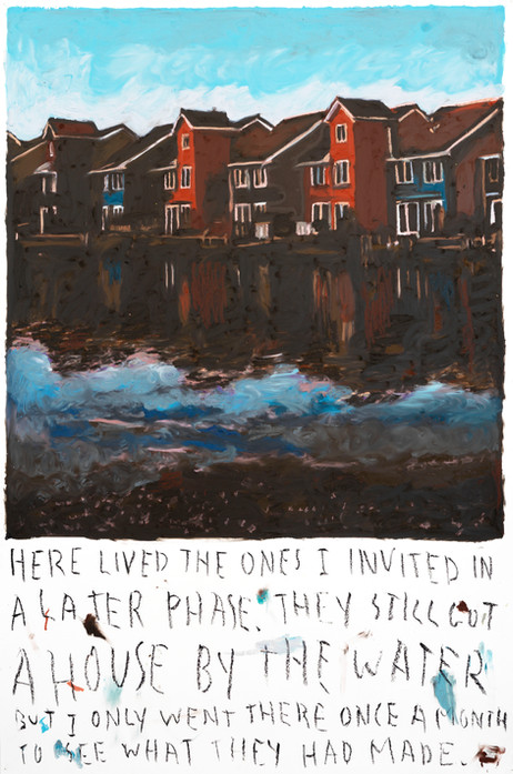 RINUS VAN DE VELDE Here lived the ones I invited in a later phase..., 2020 oil pastel on paper 110,5 x 73,1 cm