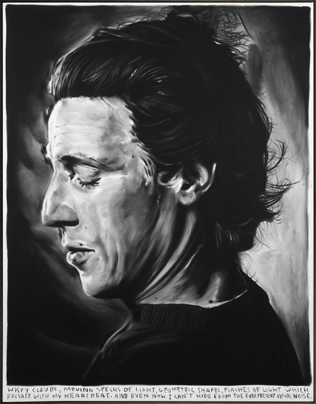 RINUS VAN DE VELDE Wispy clouds,..., 2020 charcoal on canvas, artist frame 135 x 105 cm