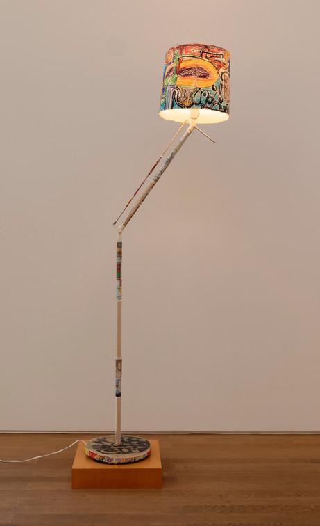 ANTON HENNING Stehlampe No. 11, 2019 metal, plastic, printed paper, marker and pastel on paper 152 x ø29 cm
