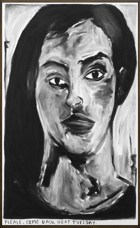 RINUS VAN DE VELDE Please, come back next  Tuesday., 2020 charcoal on canvas, artist frame 120 x 73 cm