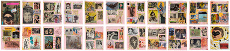 MARCEL DZAMA Scrapbook 2020, 2020 collage, adhesive tape, watercolor, and ink on paper in twenty (20) parts 59 x 211 cm (all pages), 25,4 x 20,3 cm (each page)