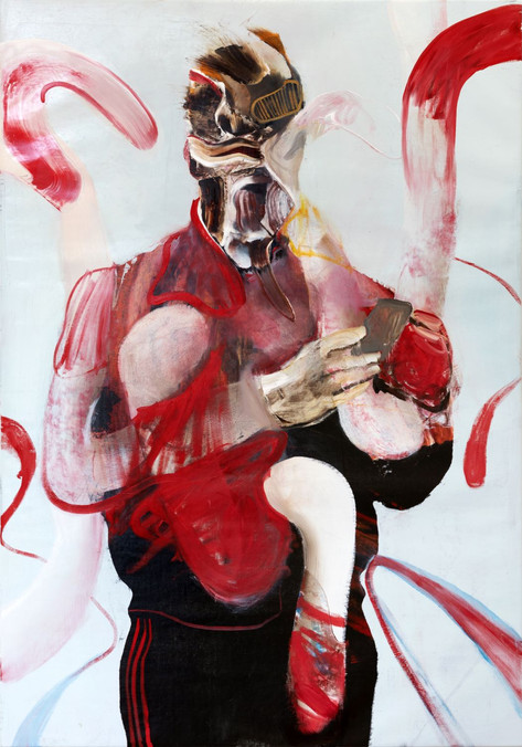 ADRIAN GHENIE Self-Portrait with iPhone 2, 2019 oil on canvas 160 x 110 cm