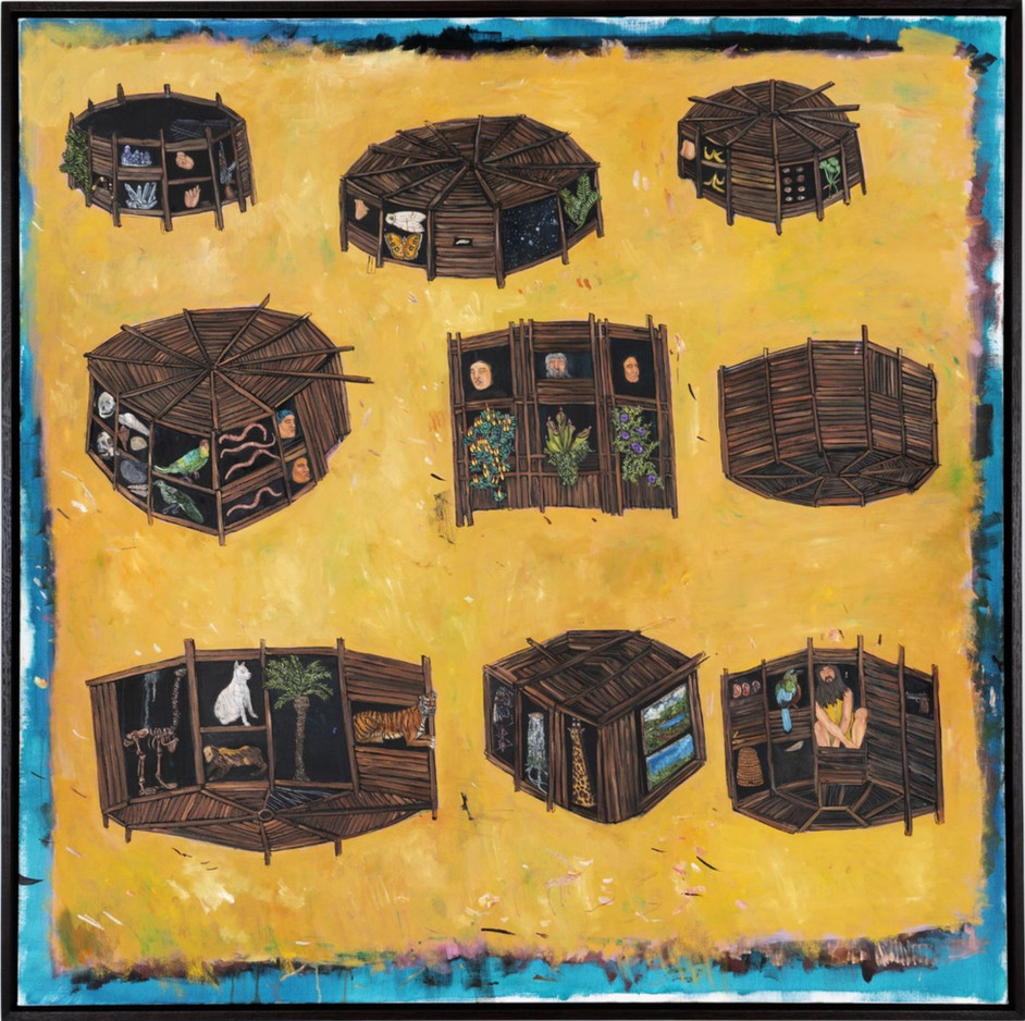 BRAM DEMUNTER Mysterious boxes buried deep underground, 2020 oil on canvas 110 x 110 cm