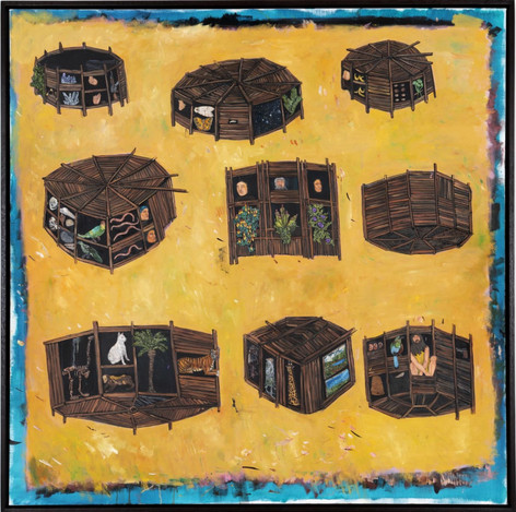 BRAM DEMUNTER Mysterious boxes buried deep underground, 2020 oil on canvas 110 x 110 cm