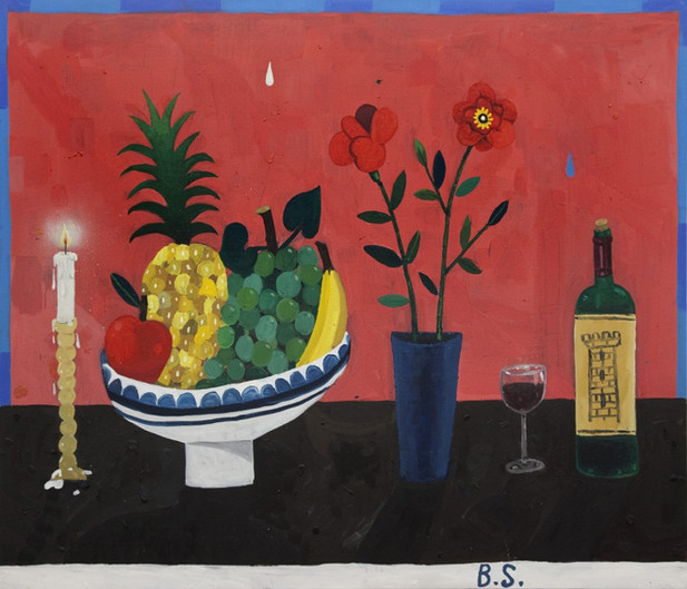 BEN SLEDSENS Candle, Fruit Bowl, Flowers and Wine, 2016 130 x 150 cm oil and acrylic on canvas