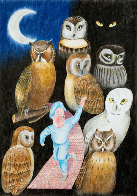 DENNIS TYFUS Buenas Noches, 2020 colored pencil on paper 100 x 70 cm 110,3 x 80,8 x 4 cm (frame)