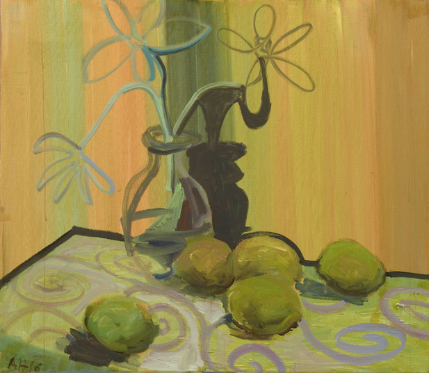 ANTON HENNING Blumenstilleben mit Früchten No. 75, 2016 oil on canvas 70 x 79,8 cm