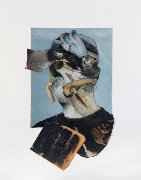 ADRIAN GHENIE Self-portrait, 2020 collage  42,5 x 33,5 cm