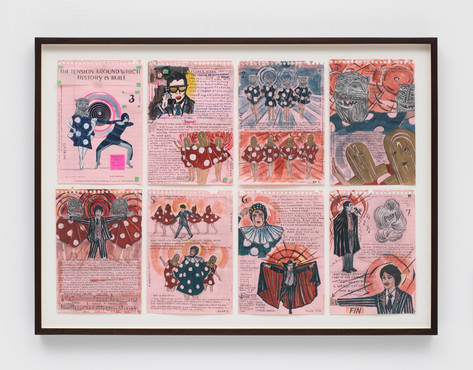 MARCEL DZAMA Storyboard of the tension around which history is built (or Storyboard chapter 3 of a flower of evil), 2018 watercolor, ink, metallic acrylic, collage, graphite, and adhesive tape on paper in eight (8) parts 24,1 x 15,2 cm (drawings), 57,2 x 77,2 cm (framed)