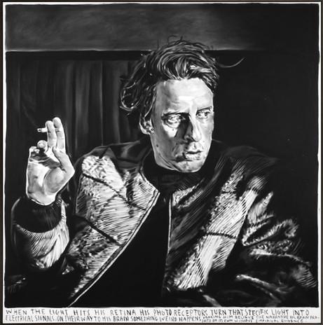 RINUS VAN DE VELDE When the light hits his retina..., 2020 charcoal on canvas, artist frame 168 x 163 cm