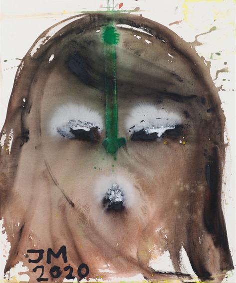 JONATHAN MEESE PLEASE GO YOUR OWN WAY!, 2020 acrylic on coarse untreated cotton cloth 120,5 x 100,3 x 3,3 cm