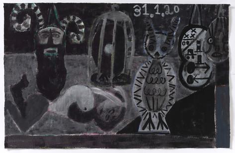 TAL R Goat, owl, cinnamon & violet, 2020 gouache on paper  80 x 125 cm