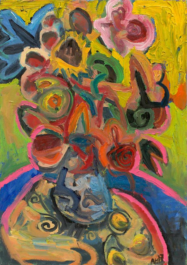 ANTON HENNING Blumenstilleben mit Früchten No. 95, 2017 oil on canvas 85,3 x 60 cm